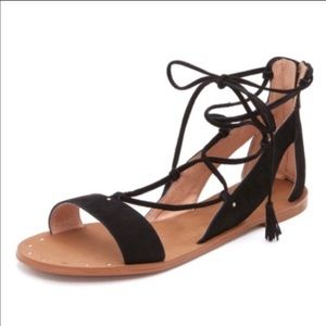 Madewell black suede lace up sandal 9
